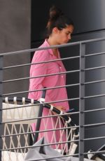 Sara Sampaio Relaxes on her balcony while on her phone in Los Angeles