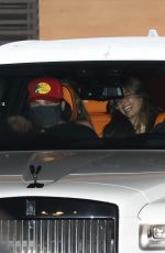 Addison Rae And Bryce Hall walk hand in hand as they and friends grab dinner at Nobu Malibu