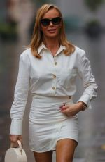 Amanda Holden In All white outfit arriving at Heart Radio in London
