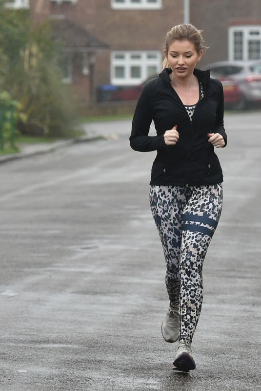 Amy Hart Braves the cold weather as she heads out for her morning run in Worthing