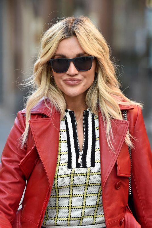 Ashley Roberts Wears Karen Millen co-ord and Ego boots pictured leaving the Heart Radio Studios in London