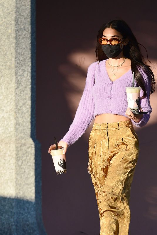 Chantel Jeffries Flashes her toned midriff as she is seen leaving Alfred Tea shop in West Hollywood