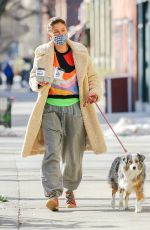 Helena Christensen Seen walking her dog in New York City