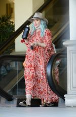 Hilary Duff Running errands with her new blue hair in LA