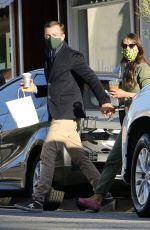 Jordana Brewster Hugs it out with boyfriend Jason Morfit as they grab coffee in Brentwood