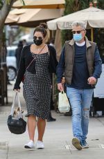 Katharine McPhee And hubby David Foster bring their dog along to lunch at Il Pastaio in Beverly Hills