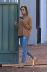 Lily Collins Out in the Neighborhood Beverly Hills