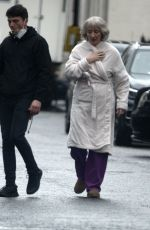 Lily James & Emma Thompson Seen on location filming scenes for
