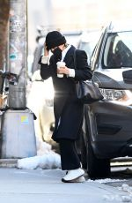 Mary-Kate Olsen Is seen arriving at ther office building with coffee on hand in New York