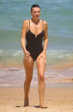Montana Cox Seen in black swimsuit on the beach in Sydney, Australia