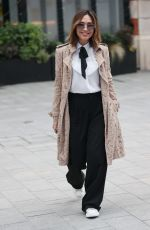 Myleene Klass Looks chic in detailed jacket and blouse at Smooth radio in London