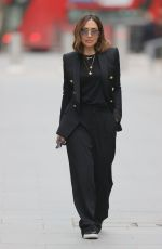 Myleene Klass Looks fabulously chic in black blazer and trousers at the Smooth Radio Studios in London