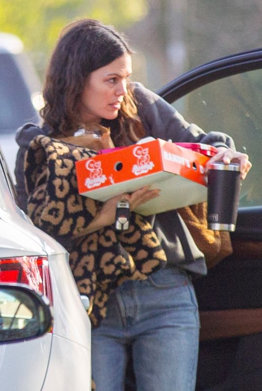 Rachel Bilson Has her hands full while arriving at a Super Bowl party with a box from Randy