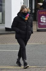 Sally Dynevor Waiting in the post office queue before heading for some grocery and flowers shopping at M&S in Cheshire
