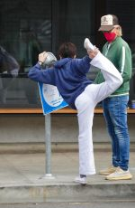 Selma Blair Shows off her flexibility while performing stretches during a coffee run in Studio City