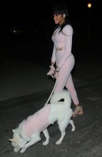 Winnie Harlow On a late night stroll with her dog in Los Angeles