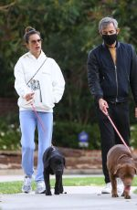 Alessandra Ambrosio and her PR and BFF Milan Blagojevic enjoy an early morning stroll with their pooches in Santa Monica