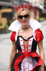Amanda Holden Dressed as the Queen of Hearts for world book day outside the Global Studios after the Heart Breakfast show in London