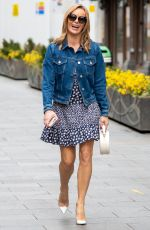 Amanda Holden Flashes legs while leaving the Global studios after the Heart Breakfast show wearing French Connection in London