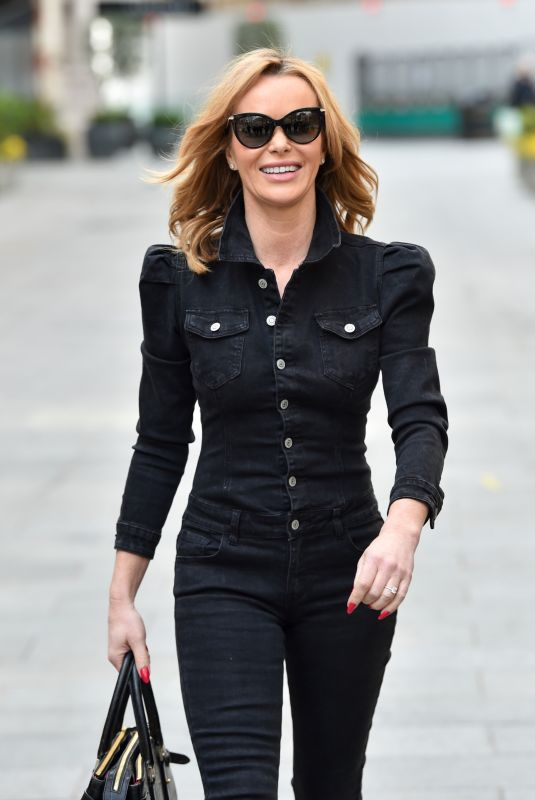 Amanda Holden Steps out in black from Heart radio in London