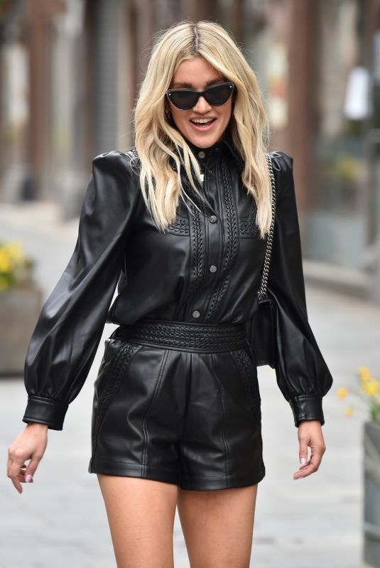 Ashley Roberts Pictured leaving the Global Studios after the Heart Radio Breakfast show wearing River Island outfit in London