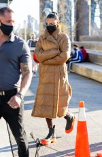 Bella Hadid Seen on the set of a Michael Kors campaign in New York