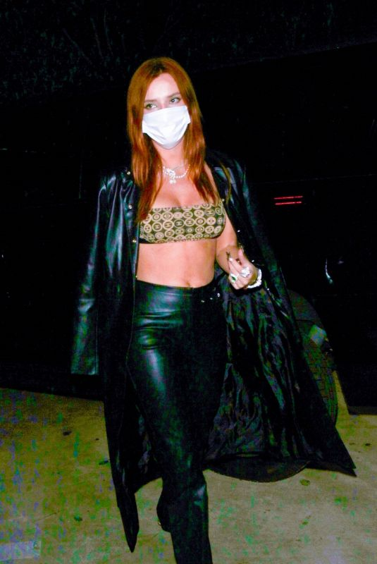 Bella Thorne Brings out the leather as she dons a matching trench coat in Hollywood