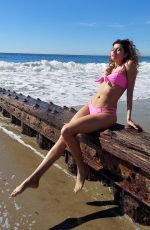 Blanca Blanco Shows off her figure in a pink bikini as she enjoys a day at the beach in Malibu