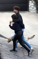 Camila Cabello & Shawn Mendes step out to take their dog on a walk near their home in Los Angeles
