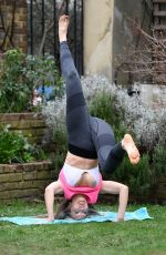 Caprice Opts for a make up free look as she practices the art of Yoga at a London park