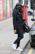 Claudia Winkleman Makes radio appearance in dark colours at Wogan House in London