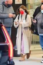 Drew Barrymore Checks her phone while leaving work at CBS in New York