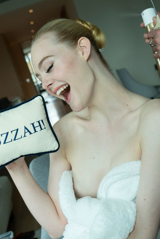 Elle Fanning Getting ready for the virtual Golden Globes