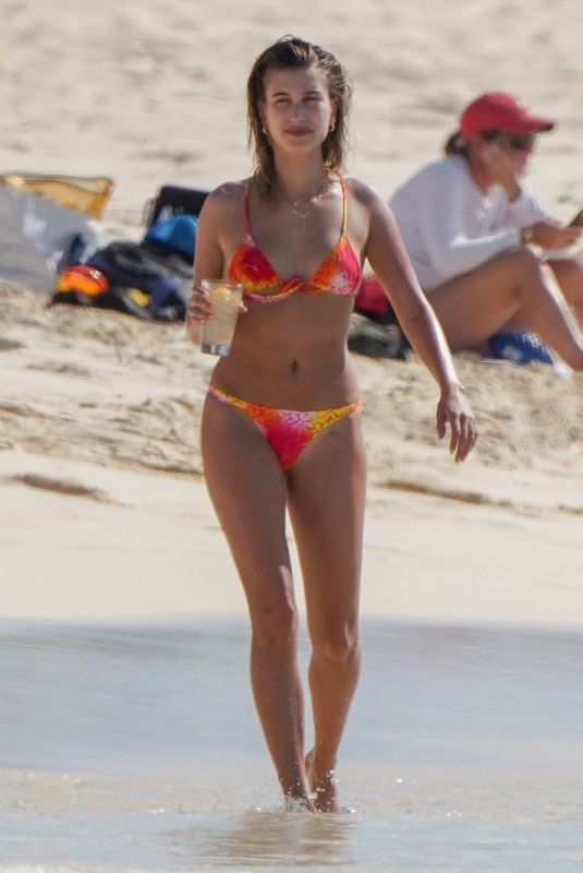 Hailey Bieber In Bikini at the beach in Turk & Caicos