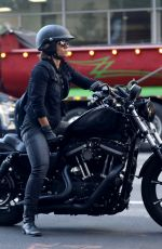 Halle Berry Driving her Harley Davidson Bike out in Beverly Hills