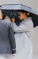 Irina Shayk Spotted hiding behind an umbrella as leaving her apartment building in NYC