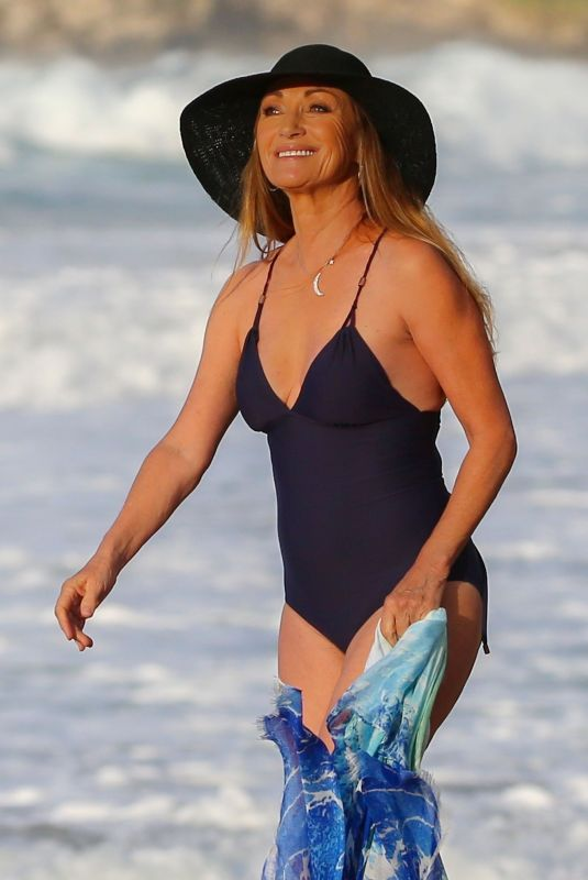 Jane Seymour In a swimsuit at a beach in Hawaii