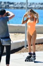 Joy Corrigan At a swimsuit photoshoot in Los Angeles