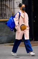 Katie Holmes Braves the NYC cold in a dust pink coat as she shops at Ritual Vintage