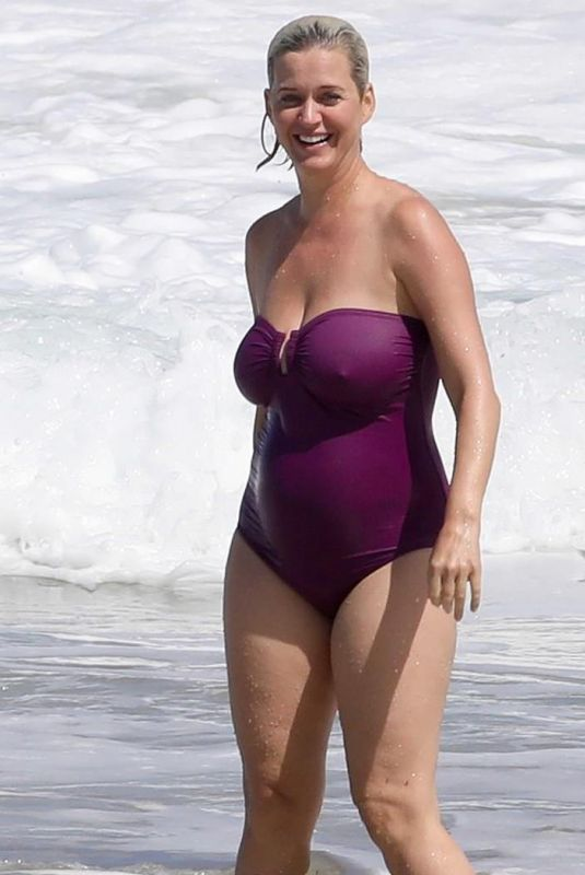Katy Perry In a purple swimsuit at beach in Hawaii