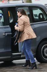 Kelly Brook Makes a fashionable appearance at Heart radio in a smart blazer and blue jeans in London