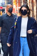 Kendall Jenner Is casual chic rocking a oversized coat as she heads out of her hotel in NYC