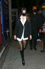 Kendall Jenner Rocks a tuxedo dress on her way out to dinner in New York