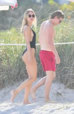 Kimberley Garner Seen in black one-piece bathing suit at Miami Beach