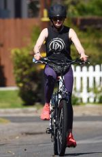 Krysten Ritter Riding an electric bicycle out in LA