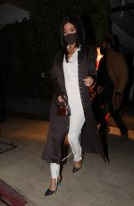 Kylie Jenner Shows off curvy figure in white while leaving dinner with friends at Giorgio Baldi in Santa Monica