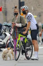 Nina Agdal Walking her dogs in NYC