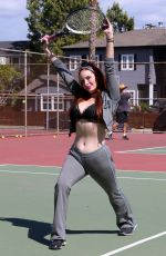 Phoebe Price Seen stretching herself out and getting ready to play tennis at the courts on Tuesday in Los Angeles