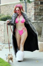 Phoebe Price Seen walking her dog in a pink bikini on Wednesday in Los Angeles