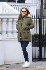 Pippa Middleton Heads out wearing a military green coat as she goes for a stroll in Chelsea